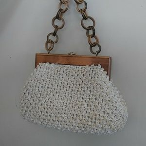 Handbags - Vintage Crochet Purse with Wood Frame and Handle